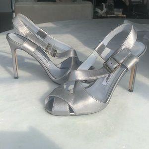 Manolo Blahnik Silver Heeled Sandals Criss Cross